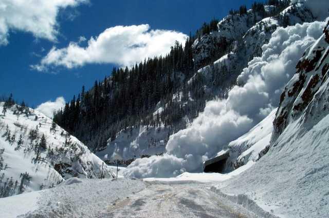 На фото скопления снежных масс в лавиносборах лавинных очагов Украинских Карпат.